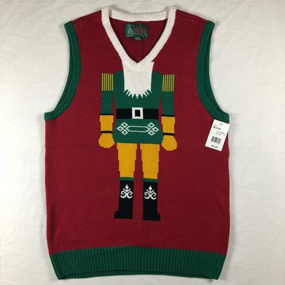nwt nutcracker ugly christmas sweater vest medium - Christmas Sweater Vest
